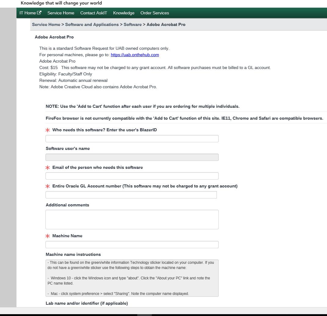 Knowledge Base - UAB Service Portal